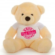 3.5 feet big peach fur face teddy bear wearing special Best Sister T-shirt