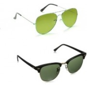 Amour-Propre Aviator Sunglasses(Green, Black)
