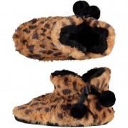 Apollo Pantervlekken/luipaardvlekken sloffen/pantoffels half hoog model voor dames