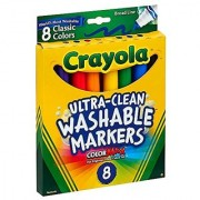 Crayola Broad Point Washable Markers 8 Markers Classic Colors Pack of 6