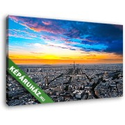 Párizsi látkép gyülekező felhőkkel (40x25 cm, Vászonkép )