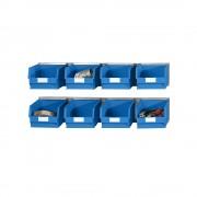Einhängeschienen-Set mit Sichtlagerkästen 2 Schienen, 8 Kästen blau