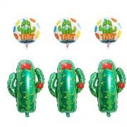 Amosfun Globo de Fiesta de Hawaii Globos de Cactus Tropicales Mexicanos Globos de Papel de Aluminio para Boda Carnaval Fiesta de Cumpleaños Favores 10 Piezas
