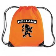 Bellatio Decorations Oranje Holland zwarte leeuw rugzak