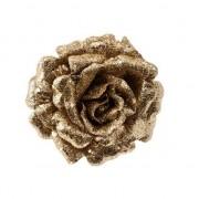 Merkloos Gouden decoratie roos glitters op clip 12 cm