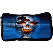 Snoogg Skull FuryPoly Canvas Student Pen Pencil Case Coin Purse Utility Pouch Cosmetic Makeup Bag