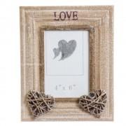 Rama foto din lemn, cadou de cuplu, cu inimioare