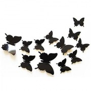 Jaamso Royals Black 3D Butterflies' Wall Sticker 1 Combo of 12 Piece (PVC Vinyl 13 cm x 15 cm 3D Stickers ) Wall Sticker -3D Butterfly (Black 24 pcs)