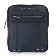 Piquadro Borsello Organizzato con scomparto porta iPad - CA1358LK in Pelle e Tessuto Blu