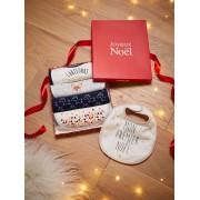 VERTBAUDET Caixa Presente com 5 babetes para bebé, O meu primeiro Natal branco claro estampado