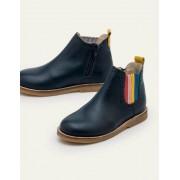 Mini Schuluniform-Navy, Regenbogen Chelsea-Boots aus Leder Mädchen Boden, 35, Blue