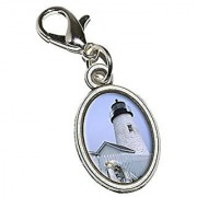 Graphics and More Maine Lighthouse - Pemaquid Point Antiqued Bracelet Pendant Zipper Pull Oval Charm with Lobster Clasp