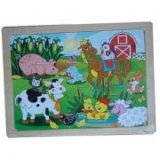 Wooden Puzzle Jigsaw Funny Happy Farm Animals