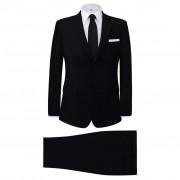 vidaXL Мъжки костюм, черен, 2 части, размер 48