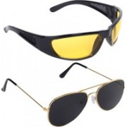 Reyda Wrap-around, Aviator Sunglasses(Yellow, Black)