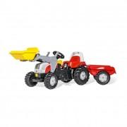 Rolly Kid Steyr 6160 CVT pedálos markolós traktor utánfutóval