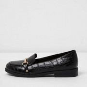 River Island Girls Black croc embossed snaffle loafers - Size 33 (EU)
