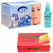 Pink Root Oxy Ice Cool Bleach Cream Hair Serum and Mix Fruit Facial Kit Pack of 3