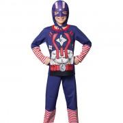 Pijama Masculino Infantil Veggi Manga Longa Personagem Super Herói Capitão América com Capuz
