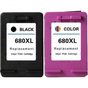 Green 680 black and color cartridge Multi Color Ink PACK OF 2