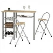 IDIMEX Ensemble table haute de bar et 2 chaises STYLE, décor chêne sonoma