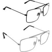 Dark Image Rectangular Sunglasses(Clear)