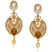 Spargz Ethnic Design Gold Finish Earring Studded with AD Stone AIER 517