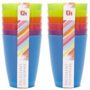 Merkloos 12x Gekleurde drinkbekers/mokken kunststof 10 cm voor kinderen