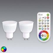 JEDI LIGHTING GU10 bombilla LED iDual 2 u. con mando a distancia