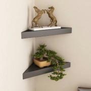 Shilpi Wooden Decorative Black Wall Shelves for Living Room empty wall Corners Set of 2 PCs