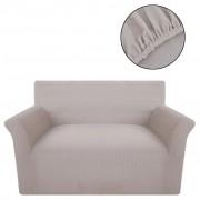 vidaXL Разтегателен калъф за диван, бежов, полиестерно рипсено жарсе