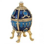 Design Toscano The Pushkin Collection Natalia Huevo esmaltado, Sencillo, Azul y Dorado, 7,62cm, 1