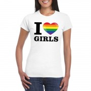 Bellatio Decorations I love girls gay regenboog t-shirt wit dames S - Feestshirts