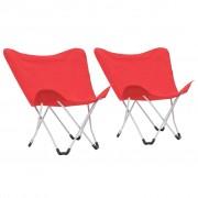 """vidaXL Къмпинг столове тип """"пеперуда"""", 2 бр, сгъваеми, червени"""