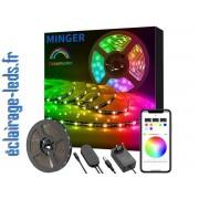 Bandeau LED RGB 5m éclairage ambiance + Micro Intégré Bluetooth. ref bl-02