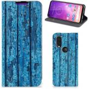 Motorola One Vision Book Wallet Case Blauw Wood