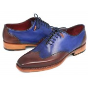 Paul Parkman Wingtip Goodyear Welted Oxford Shoes Blue & Brown 81BLU57