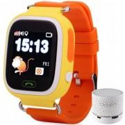 Ceas Smartwatch cu GPS Copii iUni Kid100, Touchscreen, BT, Telefon incorporat, Buton SOS, Orange + Boxa Cadou