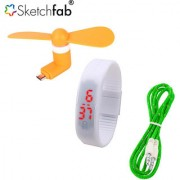 Sketchfab Combo of V8 OTG Fan LED Watch Silicon With Aux Cable - Assorted Color