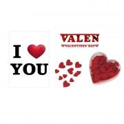 Shoppartners I Love You A1 deurposter met 100x strooihartjes en rode slinger