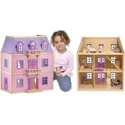 Multi-Level Wooden Dollhouse: Dollhouses & Sets