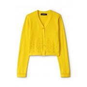 ランズエンド LANDS' END ガールズ・コットン・カーディガン・Vネック/カットワーク/長袖【キッズ・子供服・女の子】(イエローブロダリーアングレーズ)