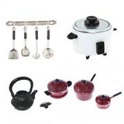 Baoblaze 4 Set Miniature Alloy Kettle Pot Cooker Kitchenware Furniture Kit for 1/12 Dolls House Kitchen Decoration Accessory