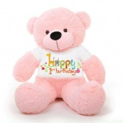 Pink 5 feet Big Teddy Bear wearing a First Happy Birthday T-shirt