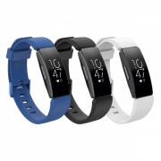 Set 3 curele din silicon pentru Fitbit Inspire / Inspire HR cu telescop QuickRelease, negru, alb, albastru