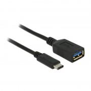 Delock USB 3.1 Gen 1 Type-C naar A Kabel 0.15 Meter - Zwart