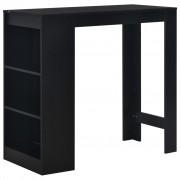 vidaXL Бар маса с рафт, черна, 110x50x103 см