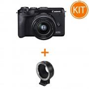 Kit Canon EOS M6 MK II cu Obiectiv EF-M 15-45mm f/3.5-6.3 + Canon adaptor EF-M - EF / EF-S