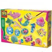 Детски креативен комплект за отливки и оцветяване, Морски фигури, SES, 0801354