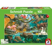 Puzzle Animal Families At The Riverside, 100 piese